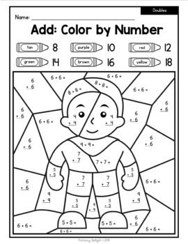 free color by number super heroes with doubles 10 and place value math activities place. Black Bedroom Furniture Sets. Home Design Ideas