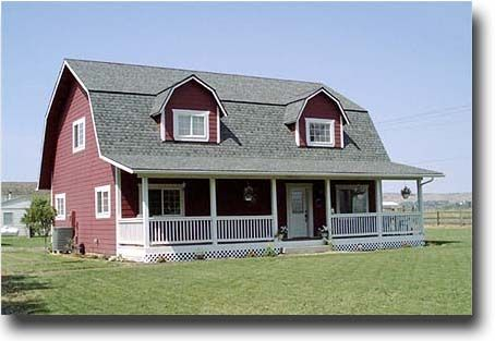 This is exactly what we been planning for our house almost looove more porch wraparound - Gambrel pole barns style ...