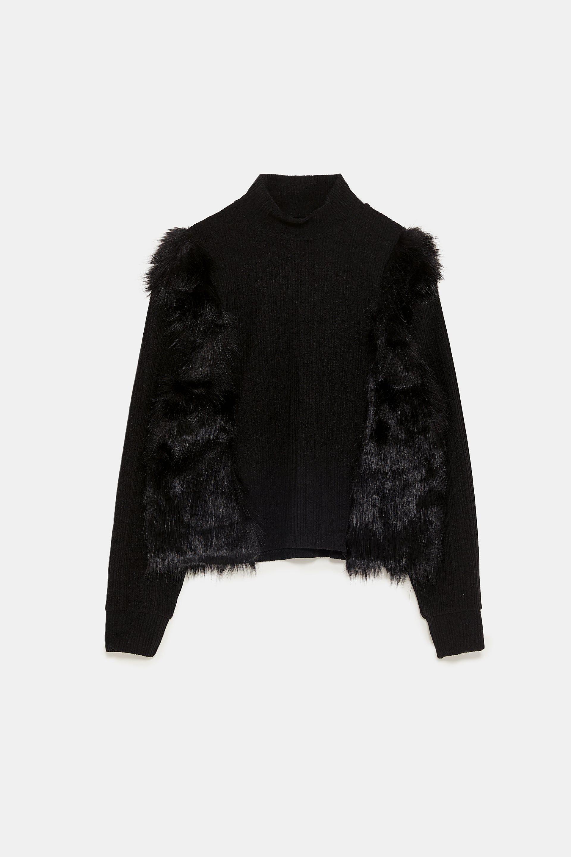 49911159 CONTRAST FAUX FUR SWEATSHIRT Zara Black, Faux Fur, Fur Coat, Sweatshirts,  Sweaters