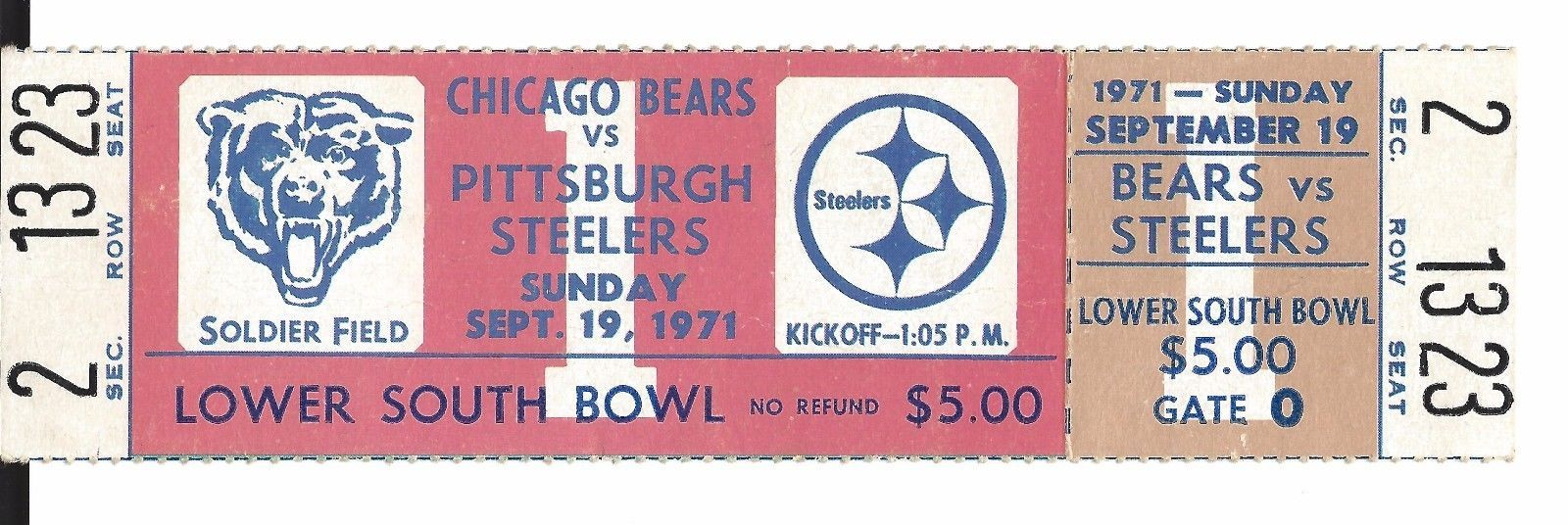 48618790 1st Game at Soldier Field Full Ticket Chicago Bears Pittsburgh ...