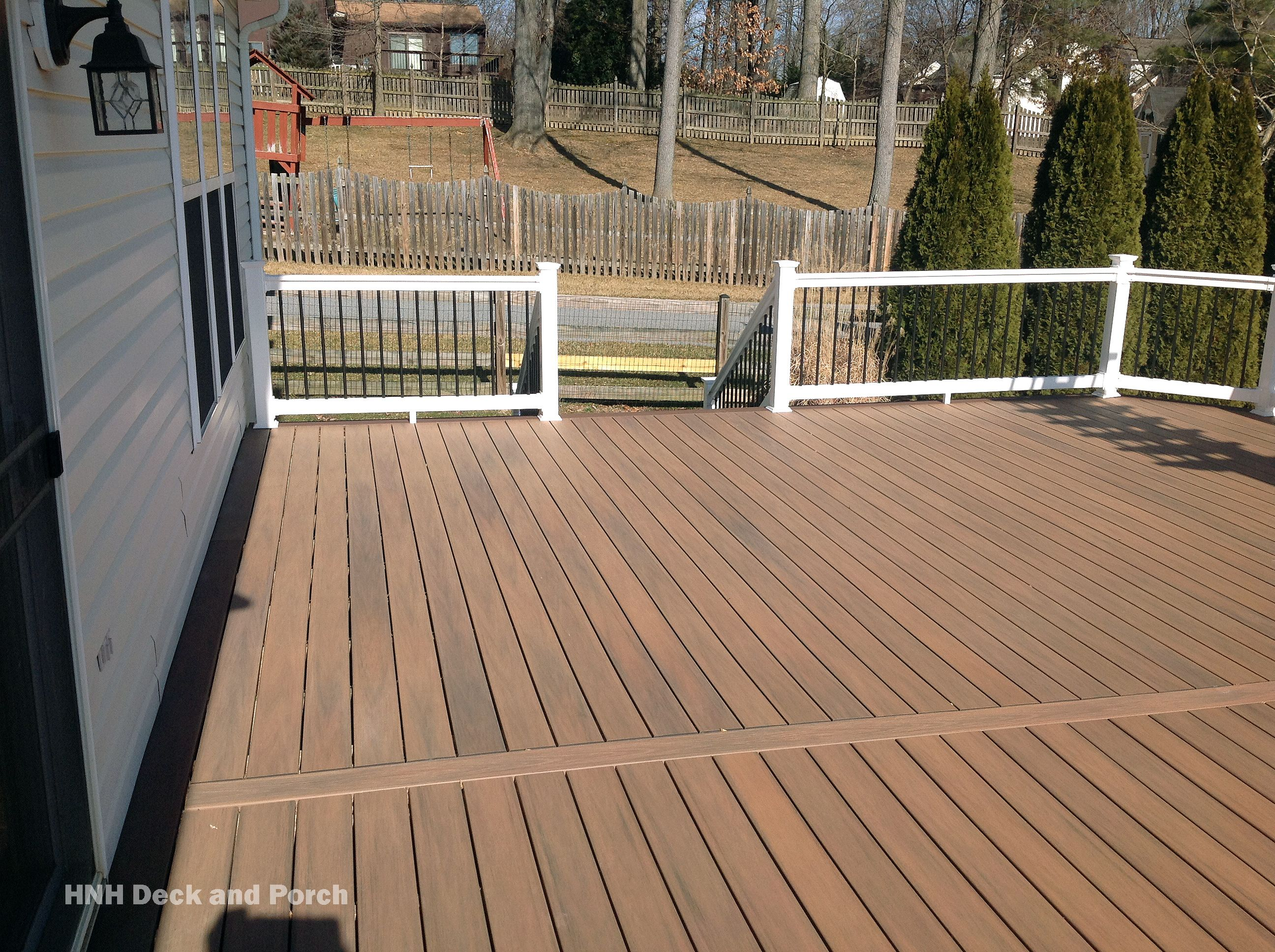 Vinyl Deck Using Wolfbuilding Amberwood Decking Deck Flooring Deck Decks And Porches
