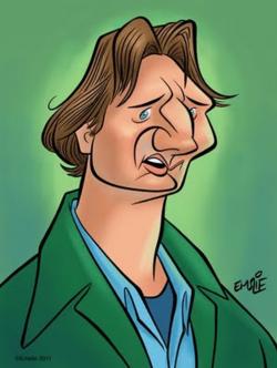 [ Liam Neeson ] - artist: Pete Emslie - website: http://cartooncave.blogspot.com/