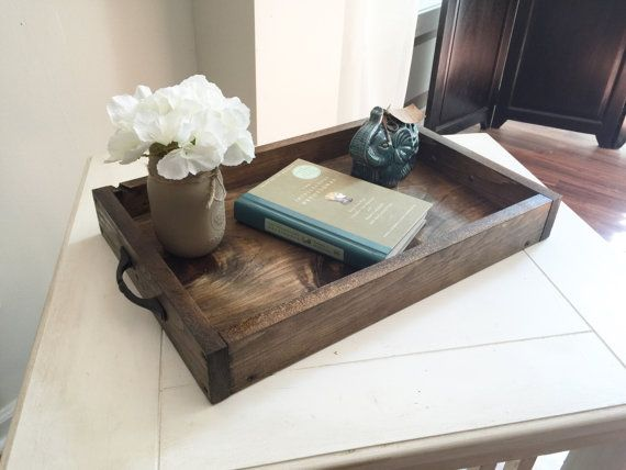Rustic Wooden Ottoman Tray Decorative Tray Coffee Table Tray