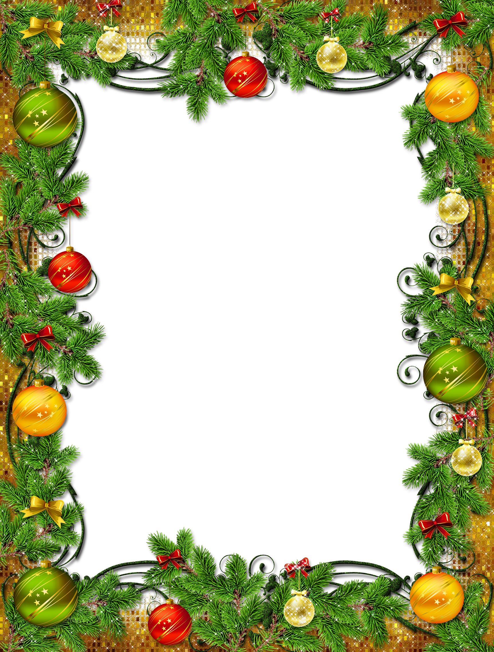 Christmas frame with ornaments and pine | Clip Art Holiday Scrapbook ...
