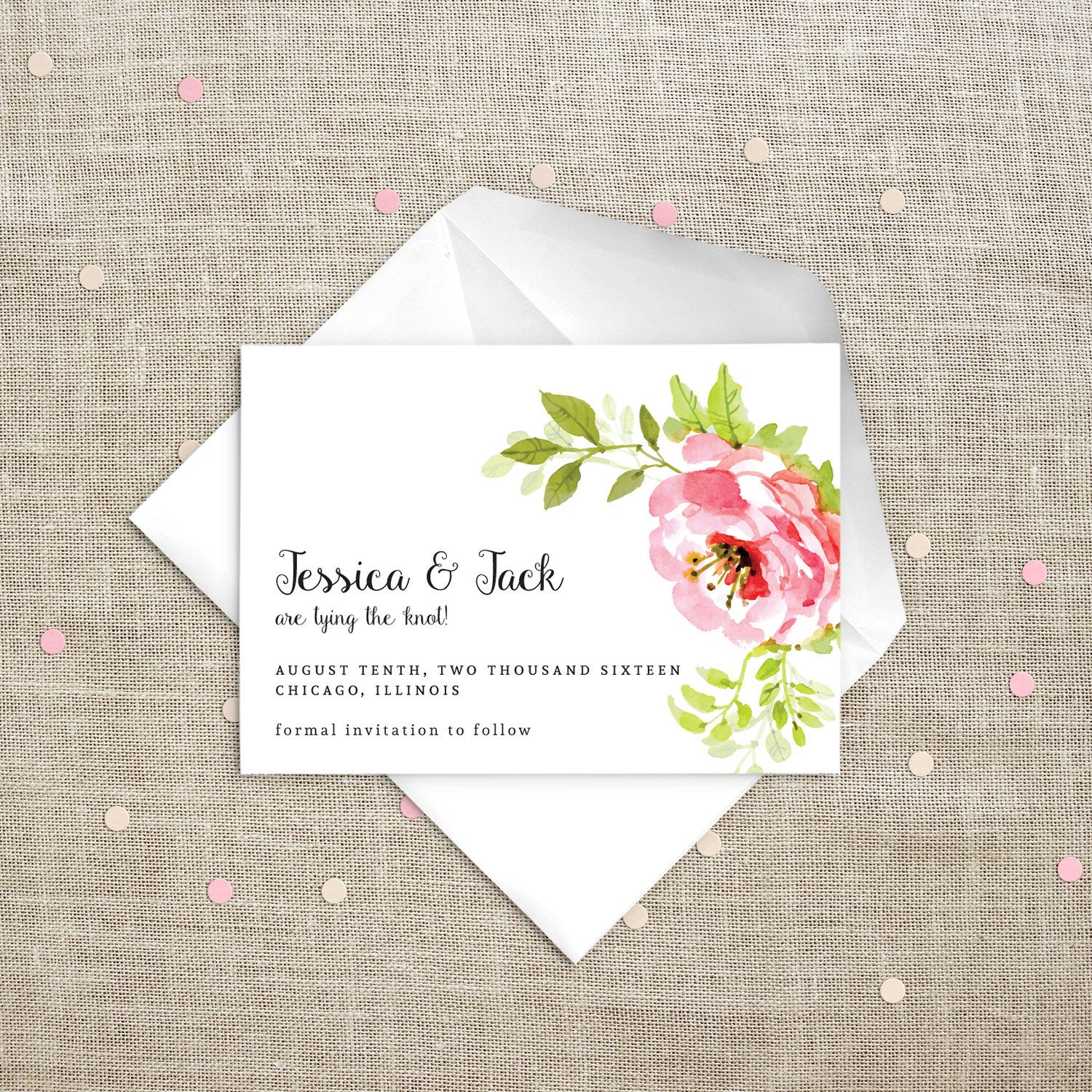 Pink and Green Peony Wedding Save the Date Printable Card. Pink Peach Green. Floral Spring Wedding Invitation. Invitation Card. by PaperBoundLove on Etsy