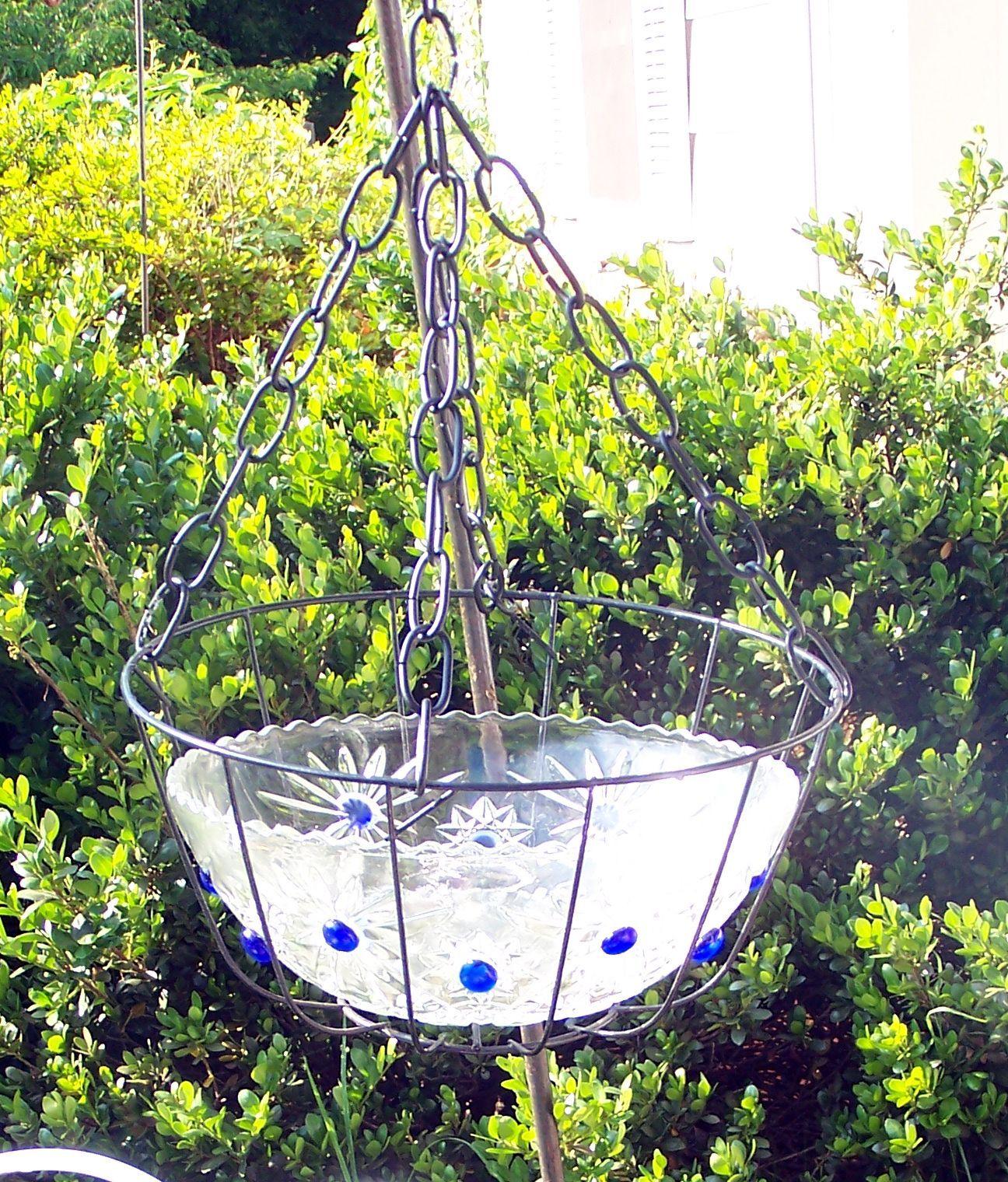 Shabby Chic Hanging Bird Bath Repurpose That Old Glass Bowl