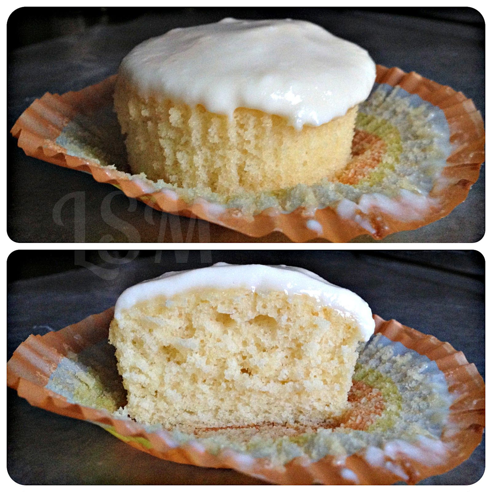 Vanilla Cupcakes with Honey Ricotta Frosting.