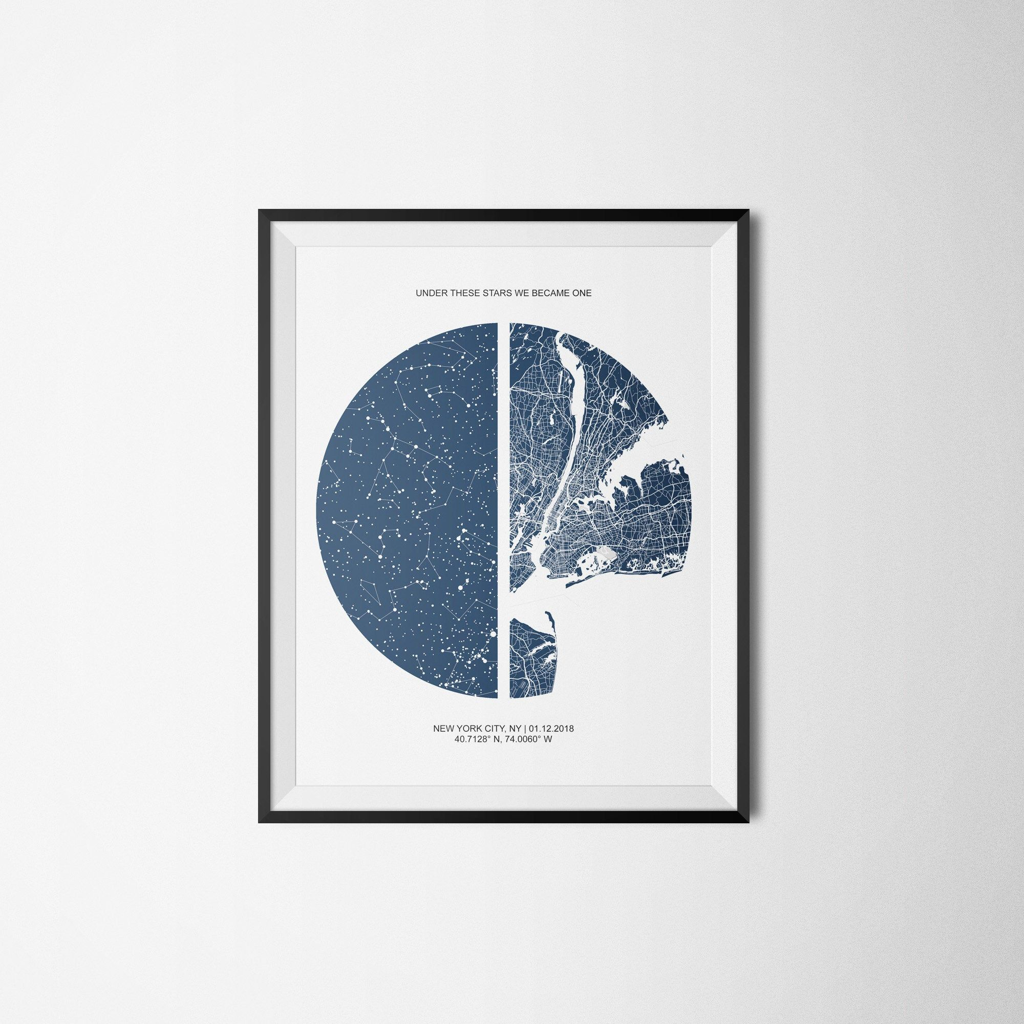 Custom Star Map And City Map Under These Stars Print First Etsy In 2020 Star Map First Anniversary Gifts Gifts For Husband