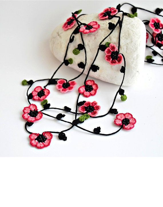 Crochet Necklace Cherry Blossom Burgundy Pink Flowers Oya Beaded ...