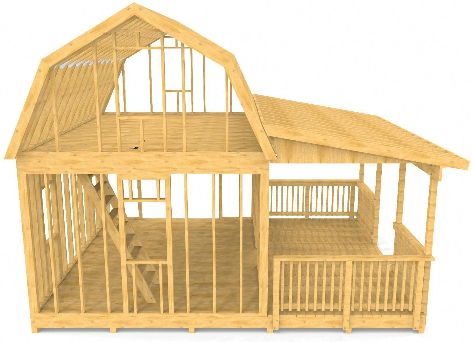 16x20 Barn Shed Plan | 2 Story, Porch Design – Paul's Sheds