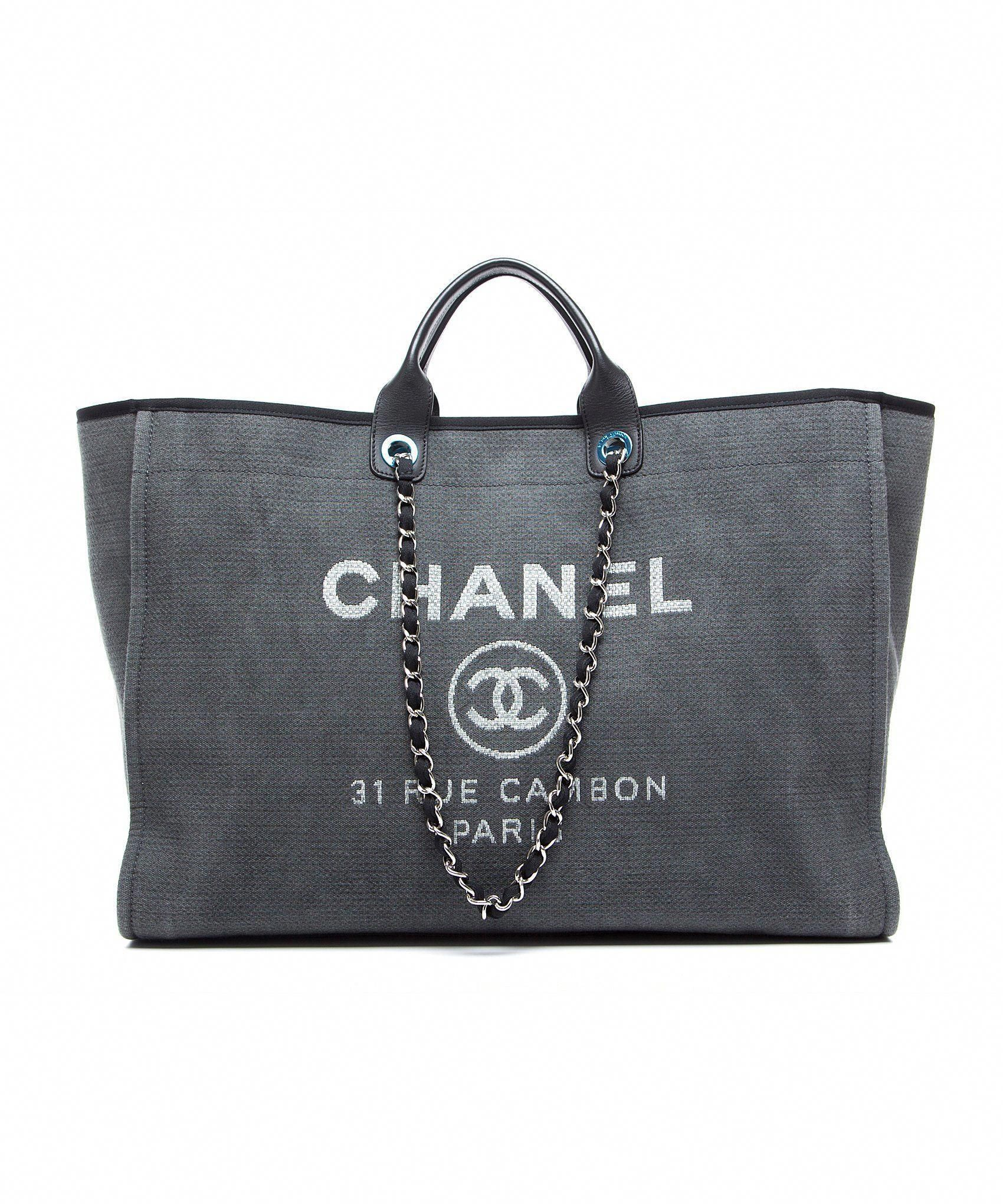 071b25b31e01 NEW 2016 Chanel Deauville Grey Canvas Black Trim Grand Shopper Large Tote  Bag