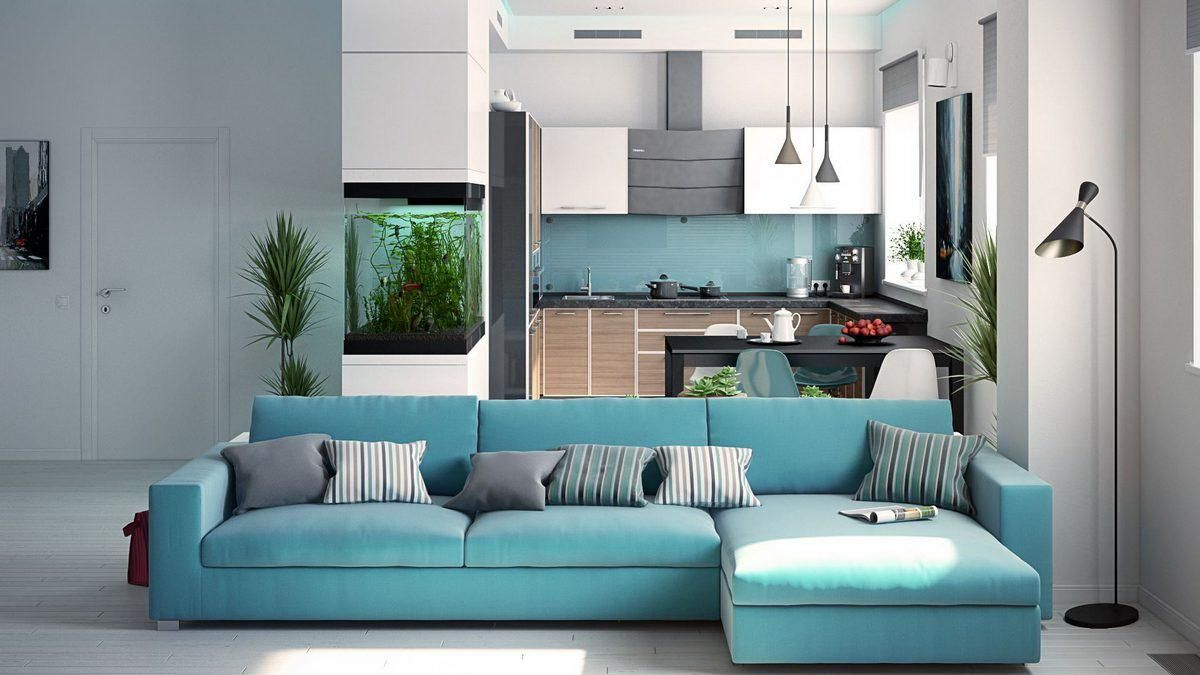Suitable combination of gray floor and a turquoise sofa | BEAUTIFUL ...