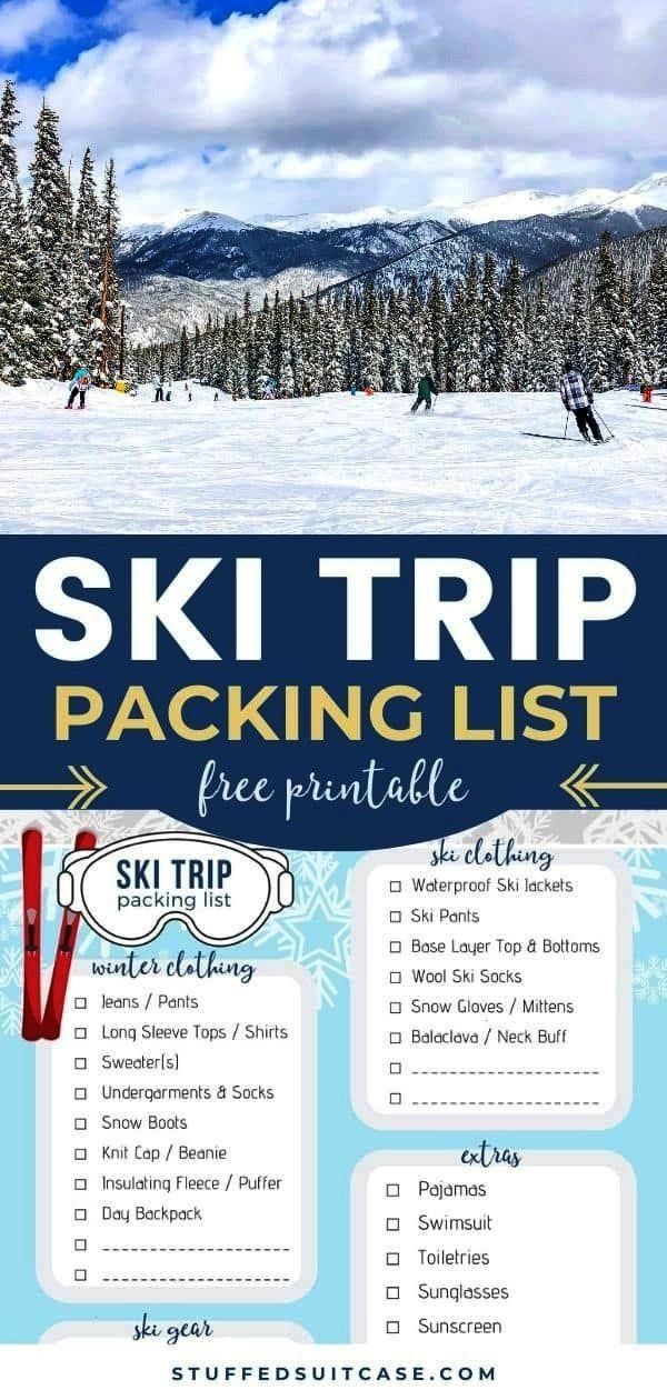 Trip Packing List for a Cozy Ski Vacation - Free Printable Ski Trip Packing List - printable checkl