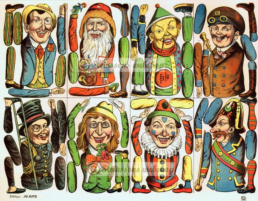 Åtte forskjellige tegnefigurer , - motiv fra 1892 - Steinssons victorian die cut scraps
