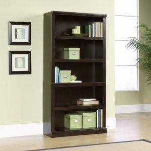 Jamocha Wood Finish Five Shelf Bookcase Jamocha Wood Finish bySauder Office Furniture  13deepx35w $149.98