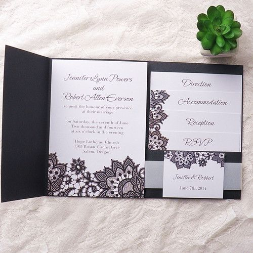 Exqusite black printed lace pocket wedding invitation kits ewpi151 exqusite black printed lace pocket wedding invitation kits ewpi151 stopboris Images