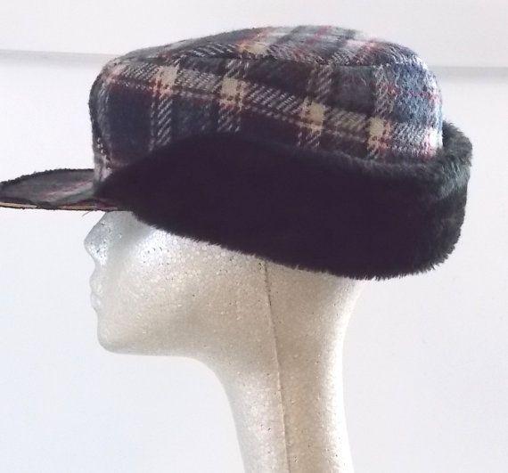 c2faee51f3 1950s Retro Blue Plaid Mens Cap Winter Hat with Faux Fur Ear Flaps ...