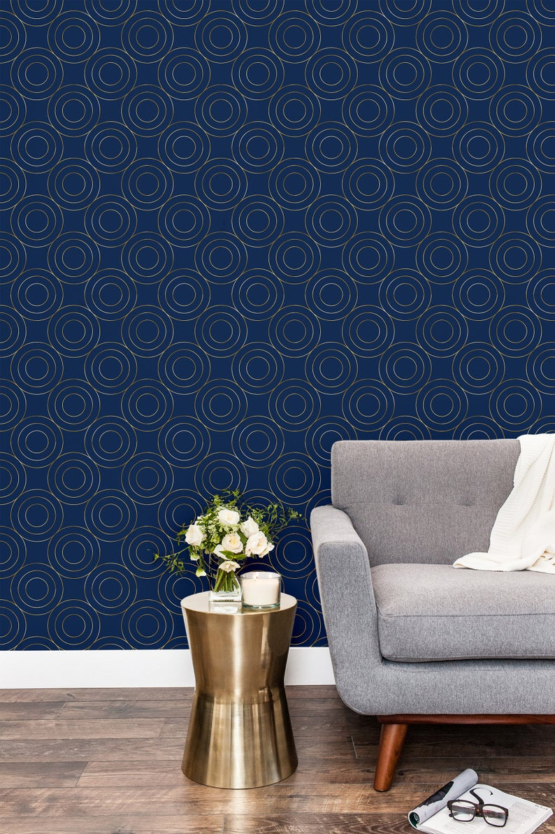 Gold And Navy Blue Geometric Removable Wallpaper Peel And Etsy Geometric Removable Wallpaper Removable Wallpaper Wall Wallpaper