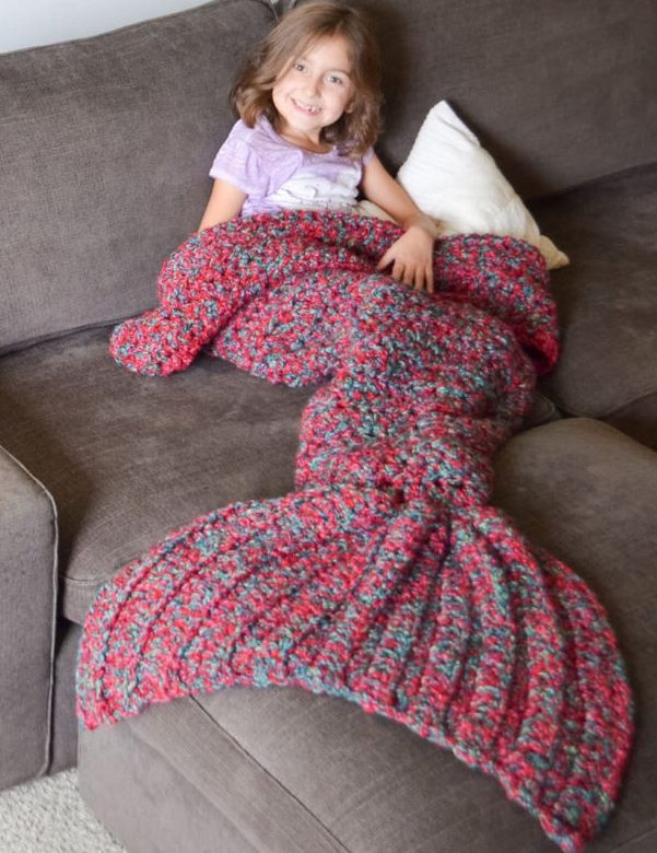 Blue-purple Gorgeous Crocheted Mermaid Tail Blanket
