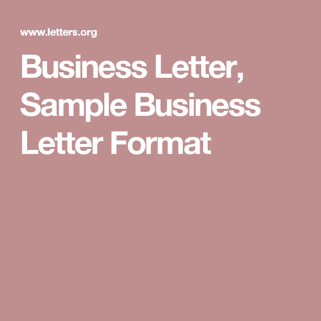 Business Letter Sample Business Letter Format  Bci Office