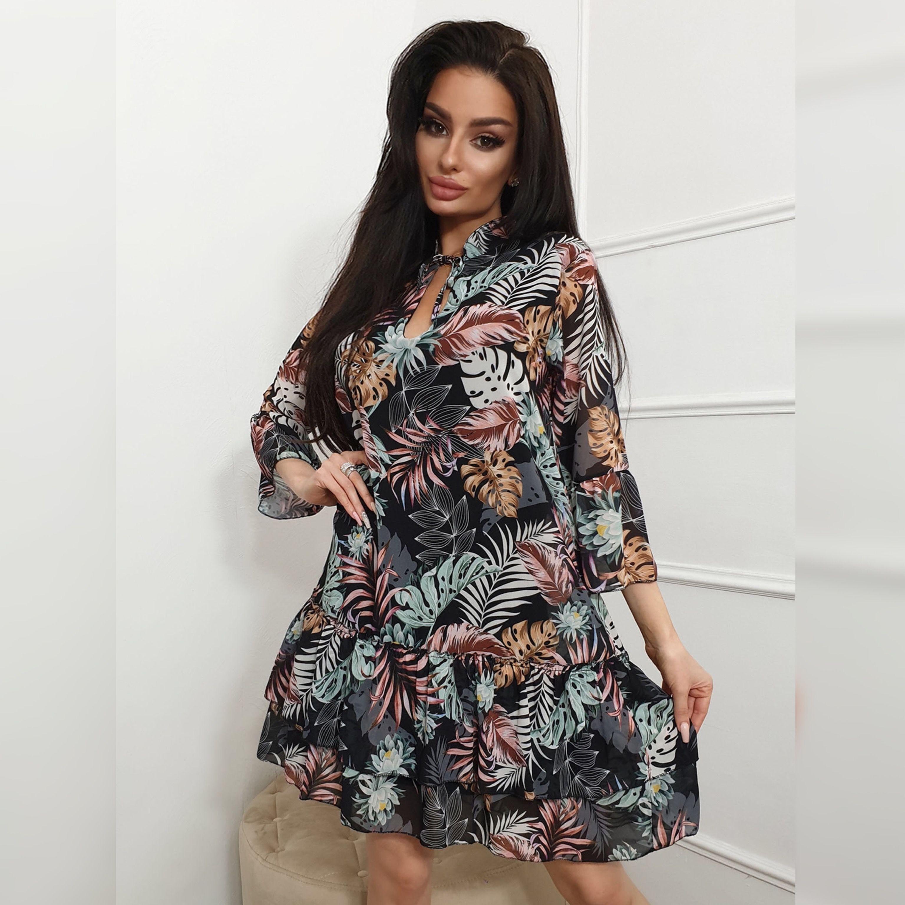 Sukienka Czarna Mini Bufki Kropeczki Romantyczna A Line Long Dress Short Bodycon Dress Short Dresses