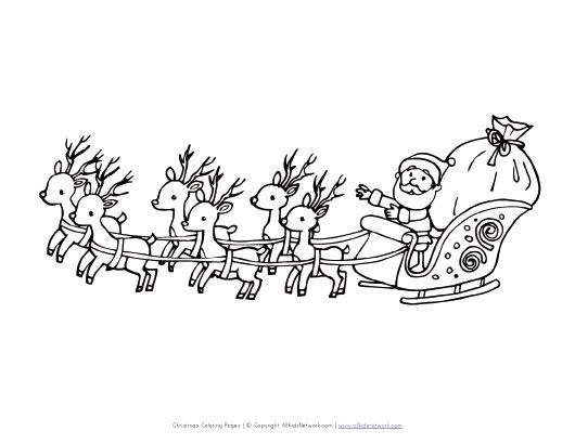 Santa Flying In Sleigh Coloring Page Christmas Pictures To Color