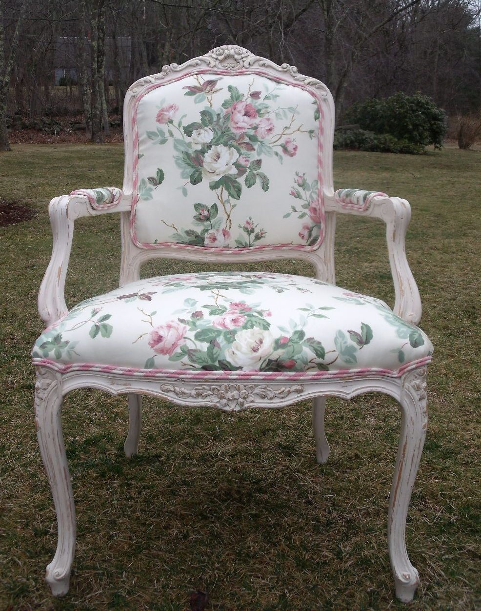 Shabby Chic Bergere Chair In Pink Chintz And Chalk Paint