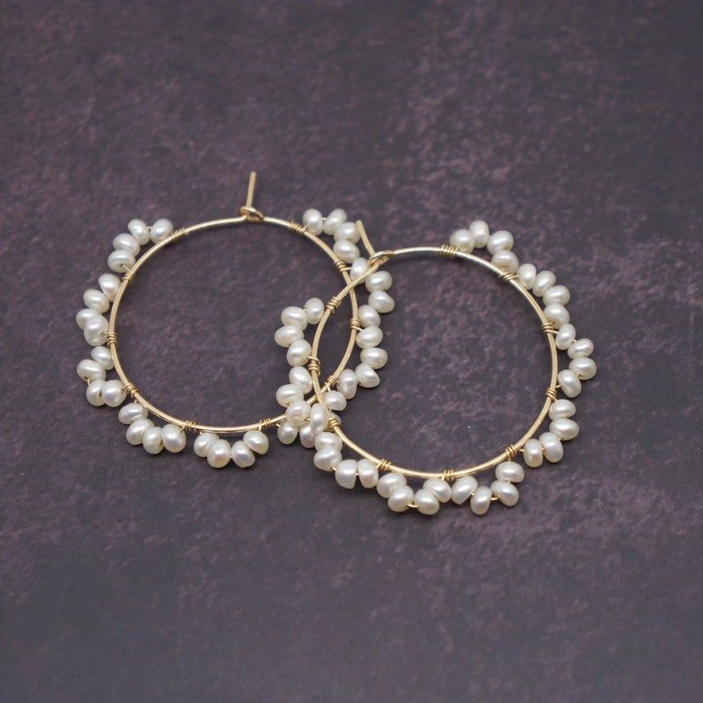 Pearl Gold Filled Wire Wrapped Hoop Earrings |Chri