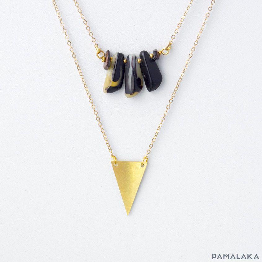 Ensemble 2 Colliers Laiton, Triangle, Pierres – PAMALAKA - Créateur de bijoux boho chic