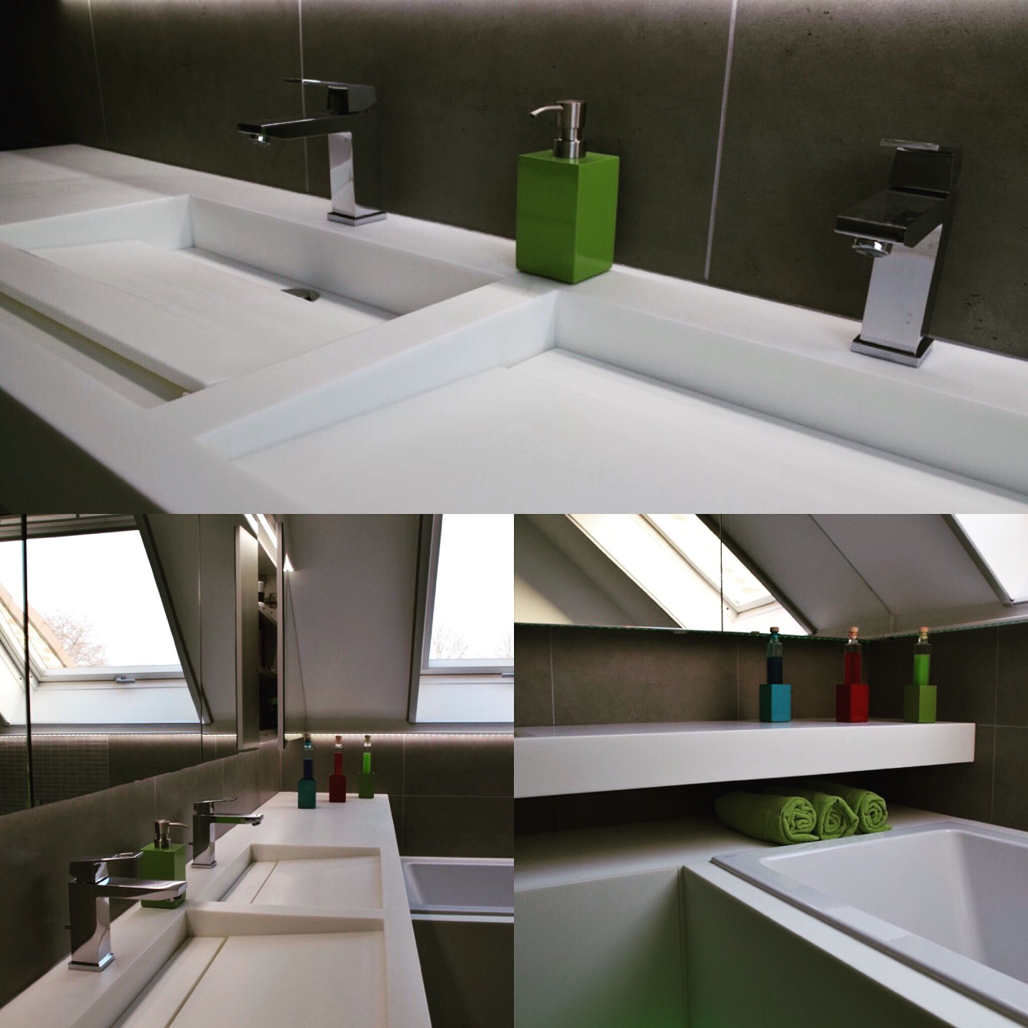 Volledige badkamer in Solid Surface, wastafel, ladefronten ...