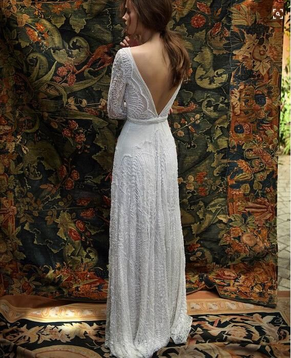 50222ae343a53 Romantic Bohemian Lace Backless Wedding Dresses V neck Long Sleeves Garden  Beach Bridal Gowns Fairy Sweep Train 1970s Hippie Boho Wedding