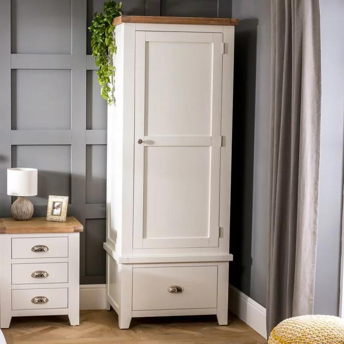 Best Cheshire Cream Painted Single 1 Door Wardrobe With Drawer 640 x 480