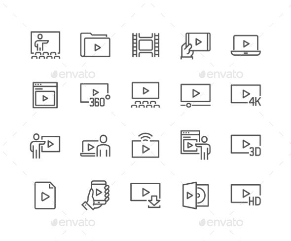 Line Video Icons. Download here: http://graphicriver.net/item/line-video-icons/16606343?ref=ksioks