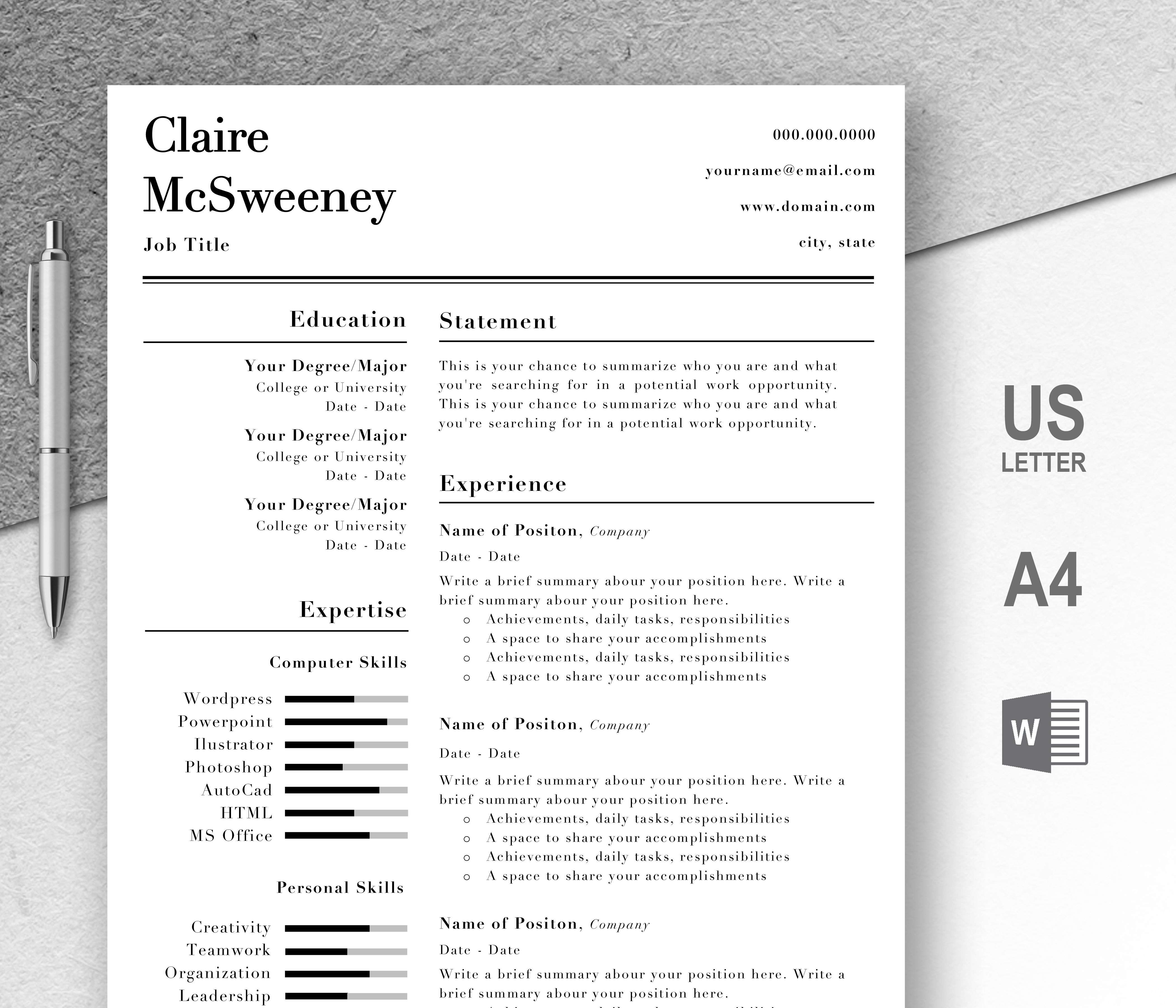 Professional Resume Templates Editable in Microsoft Word