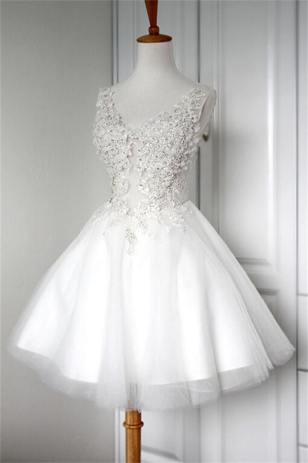 ecdafd5ac1e V-neck White Lace Appliques Short A-line Cute Lace Up Homecoming Dresses  Z0014