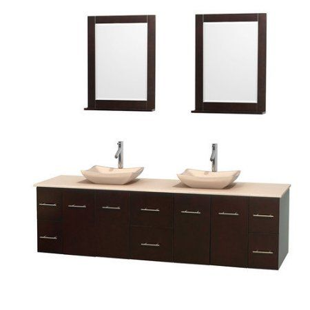 Wyndham Collection Centra 80 inch Double Bathroom Vanity in Matte White, White Carrera Marble Countertop, Avalon White Carrera Marble Sinks, and 24 inch Mirrors