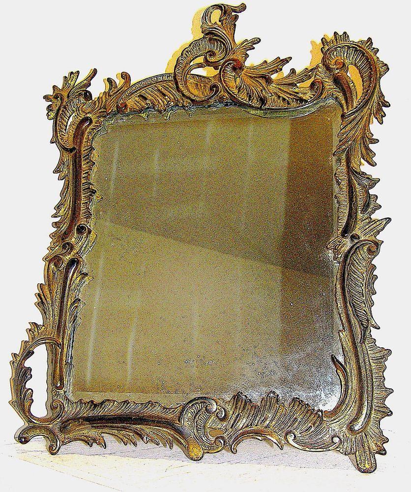 Antique bronzebrass mirror marked nb iw 1911 bronze