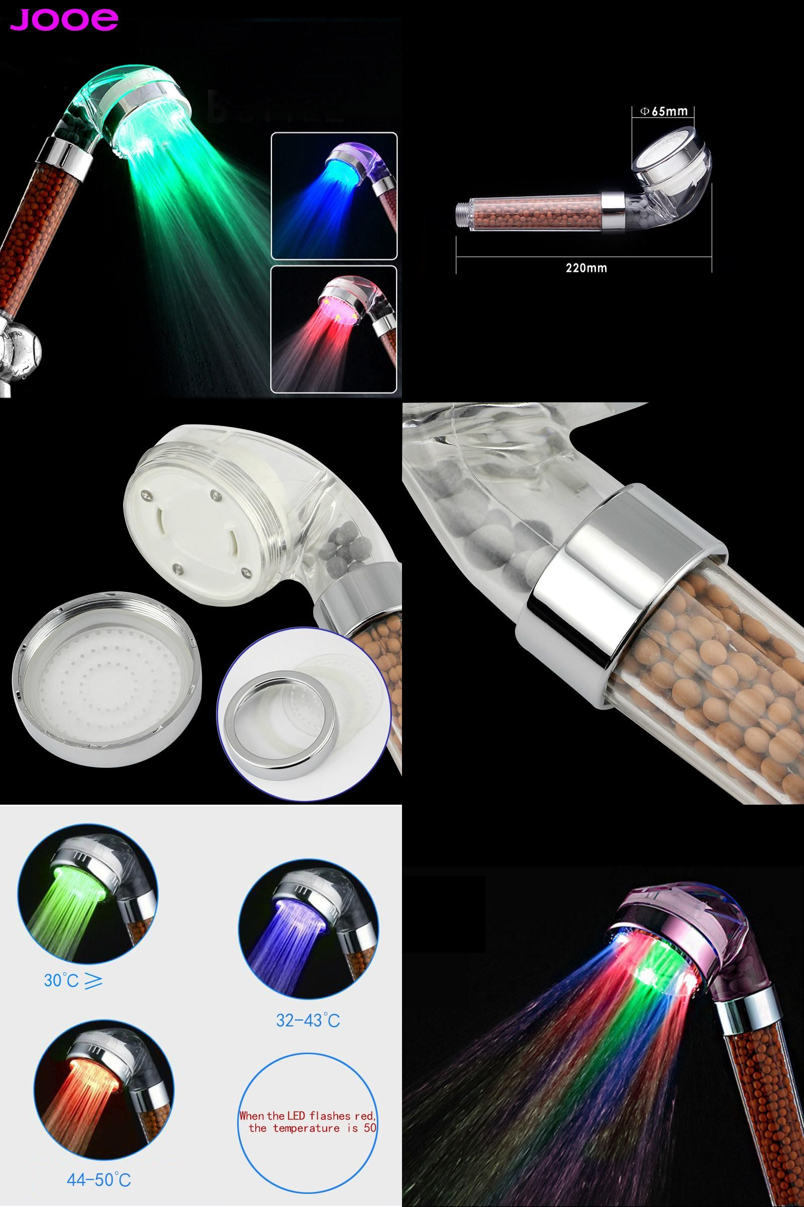 Visit to Buy] jooe led light shower heads spa Negative ion