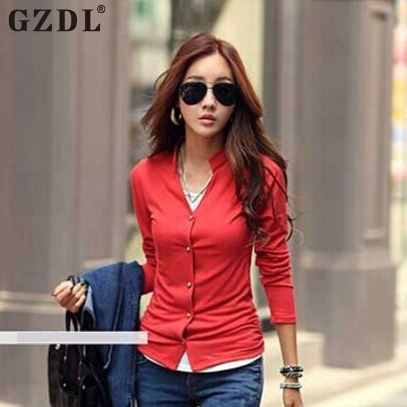 Vogue Women Cotton Long Sleeve Stand Collar Slim Ed On Down Shirt Las Female Casual Solid Office Blouse Top Mainland