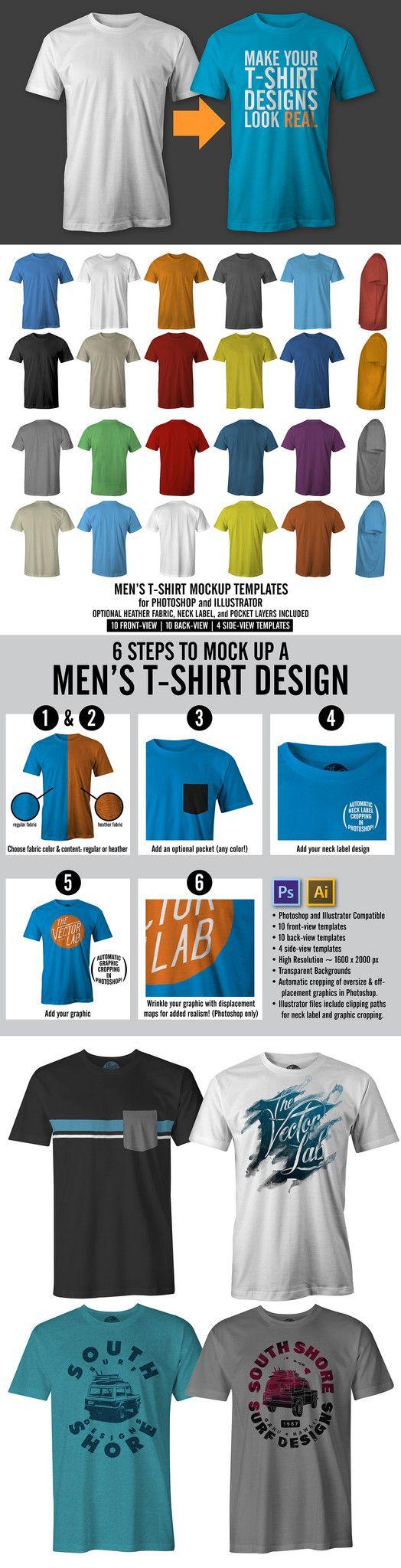 41ca570b Men's T-Shirt Mockup Templates (Version 5.0) | Tees | Mockup ...