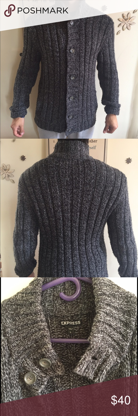Express Buttoned Mock Neck Sweater Charcoal/black color, has pockets on both sides, fits to form. 40% merino wool, 60% acrylic. Very warm, long length, great condition. Fits a medium with the sleeve rolled up as shown in pictures Express Sweaters