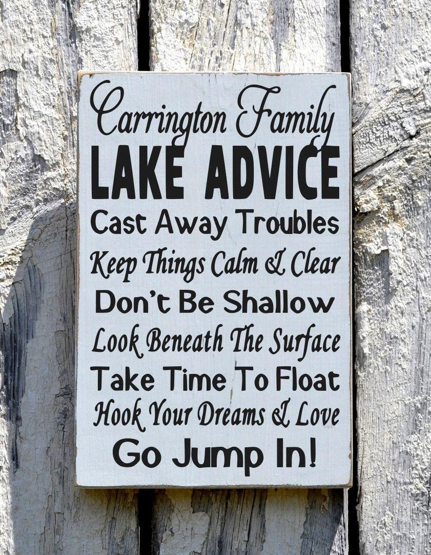 Lake House Decor, Personalized Lake Advice Sign, Lakeside Home Wall ...
