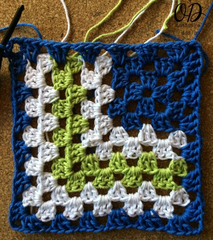 Make a beautiful mitered granny square dishcloth! | Patrón de ...