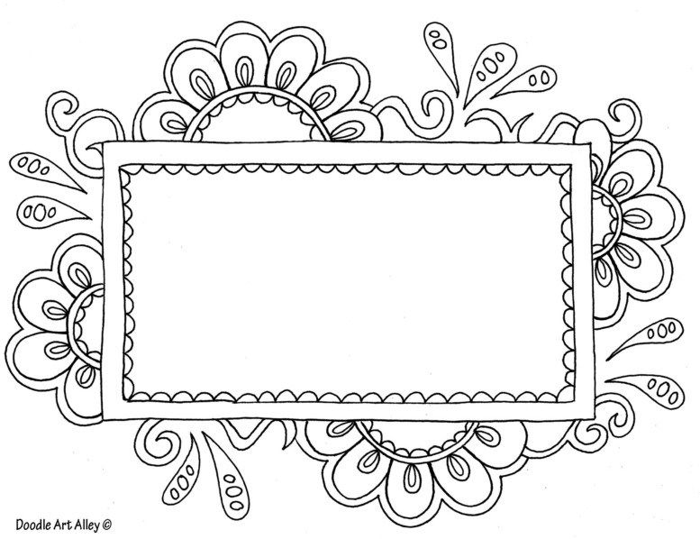 Flowerframetemplate Coloring Pages Name Coloring Pages Doodle Frames