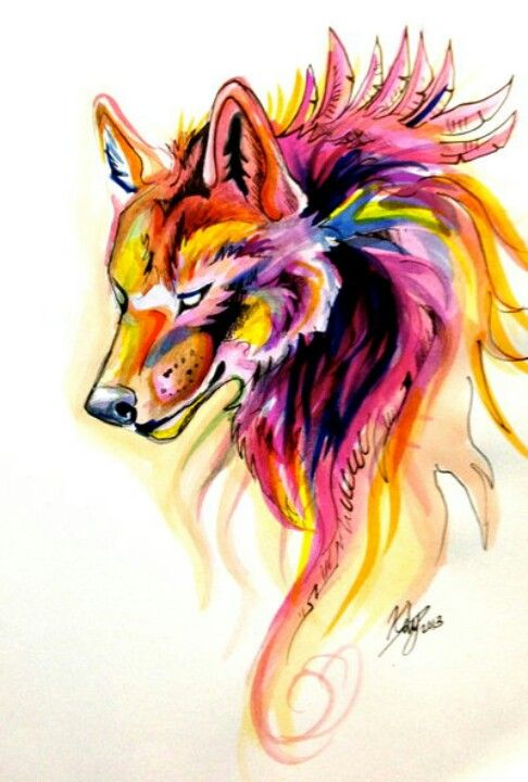 Want somwthing like this on my hip. Colorful wolf by Katy Lipscomb.