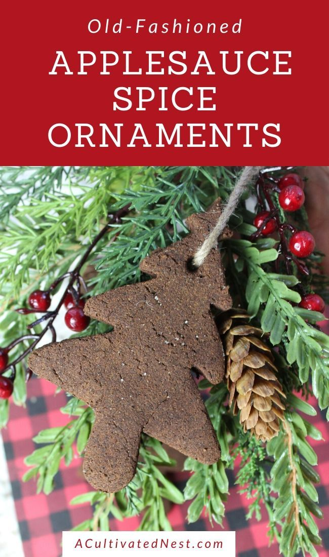 Old-Fashioned Applesauce Spice Ornaments- Bring an old-fashioned, rustic touch to your Christmas tree this year with these homemade old-fashioned applesauce spice ornaments! They're beautiful, easy to make, and smell amazing!   #ChristmasOrnaments #DIY #ChristmasCraft #DIYOrnaments #ACultivatedNest