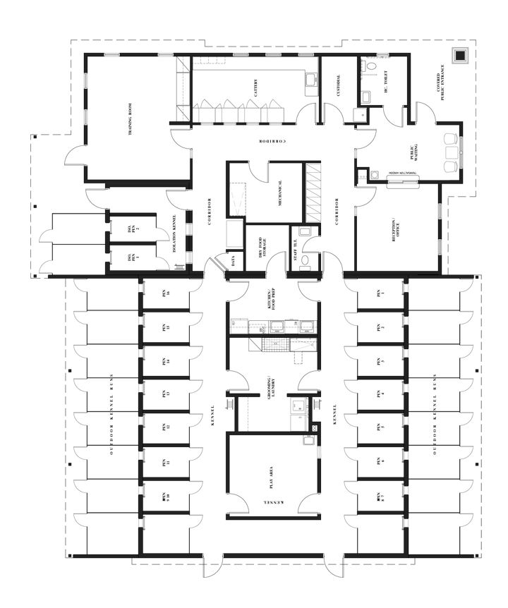 Cattery design plans cattery ideas pinterest cat for Boarding kennel blueprints