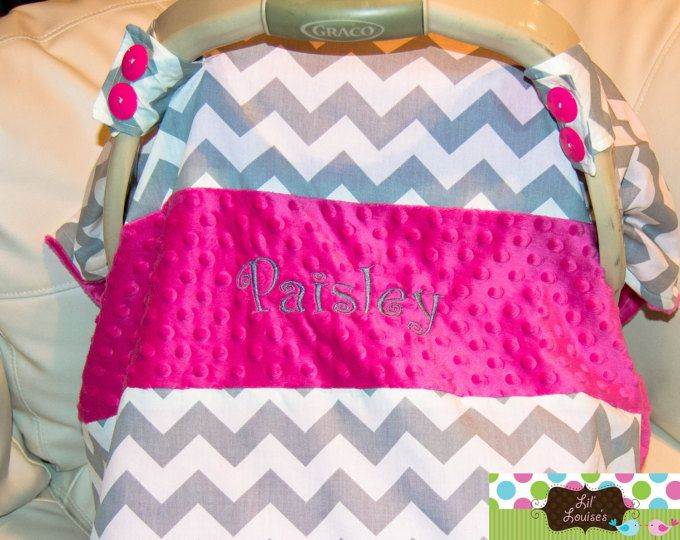 Monogramed Carseat Canopy Grey Chevron Hot Pink Cover Monogram Name Handmade Gray Custom Baby Boy Girl : infant carrier canopy - memphite.com