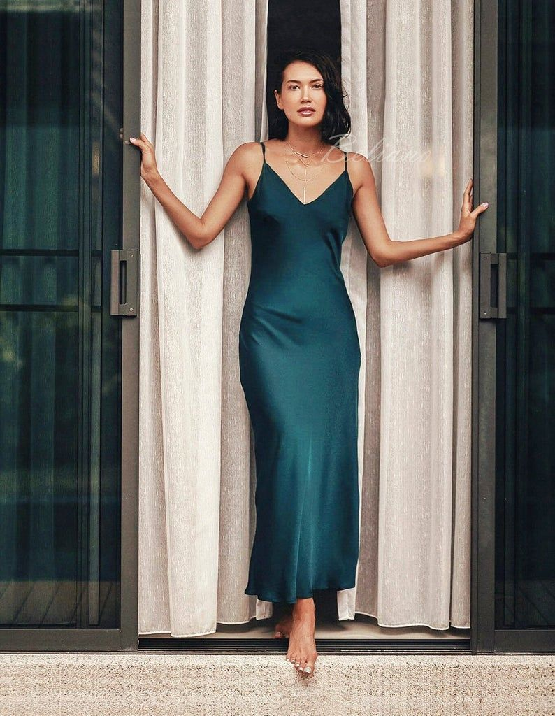 Many colors silk slip bridesmaid dresses for wedding party