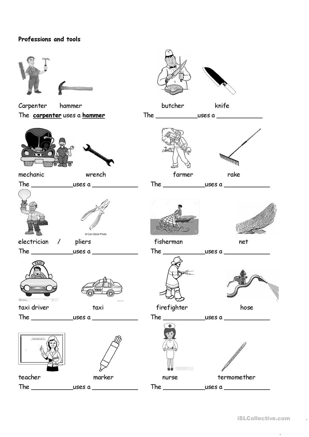 Professions And Tools Vocabulary Worksheets Life Skills Writing Practice Worksheets [ 1440 x 1018 Pixel ]